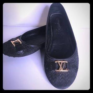 Louis Vuitton braided Oxford Flats 38.5 black Auth